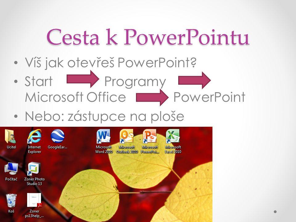 Cesta k PowerPointu Víš jak otevřeš PowerPoint