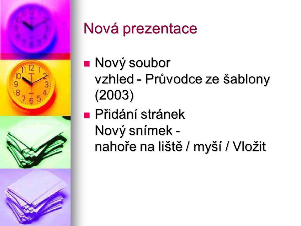 Nová prezentace Nový soubor vzhled - Průvodce ze šablony (2003)