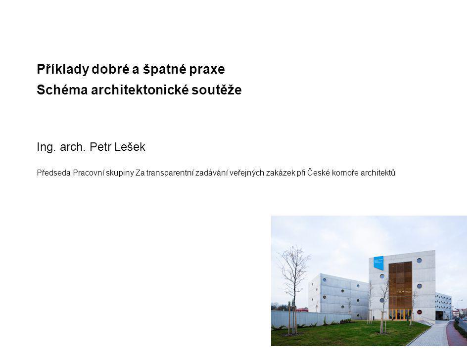 Příklady dobré a špatné praxe Schéma architektonické soutěže