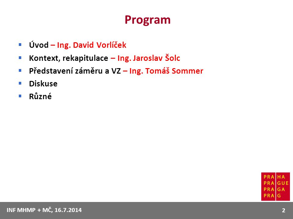 Program Úvod – Ing. David Vorlíček