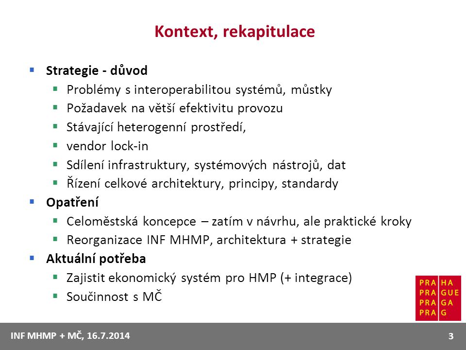 Kontext, rekapitulace Strategie - důvod