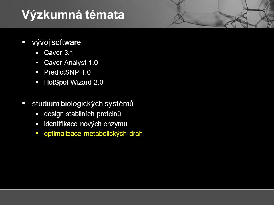 Výzkumná témata vývoj software studium biologických systémů Caver 3.1