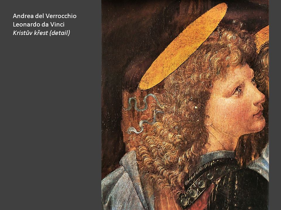 Andrea del Verrocchio Leonardo da Vinci Kristův křest (detail)