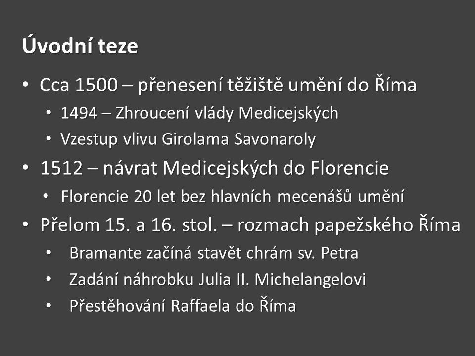 Úvodní teze Cca 1500 – přenesení těžiště umění do Říma