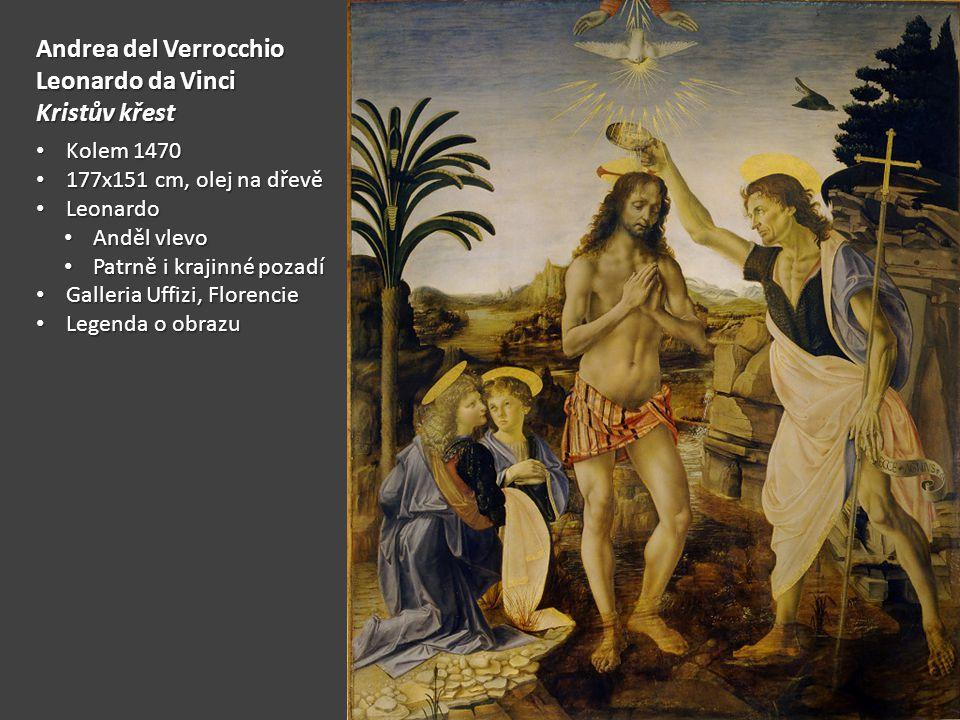 Andrea del Verrocchio Leonardo da Vinci Kristův křest Kolem 1470