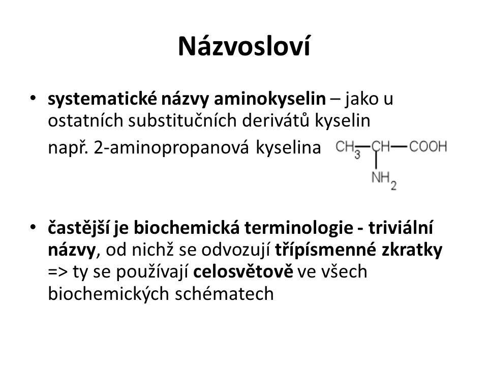 Názvosloví systematické názvy aminokyselin – jako u ostatních substitučních derivátů kyselin. např. 2-aminopropanová kyselina.