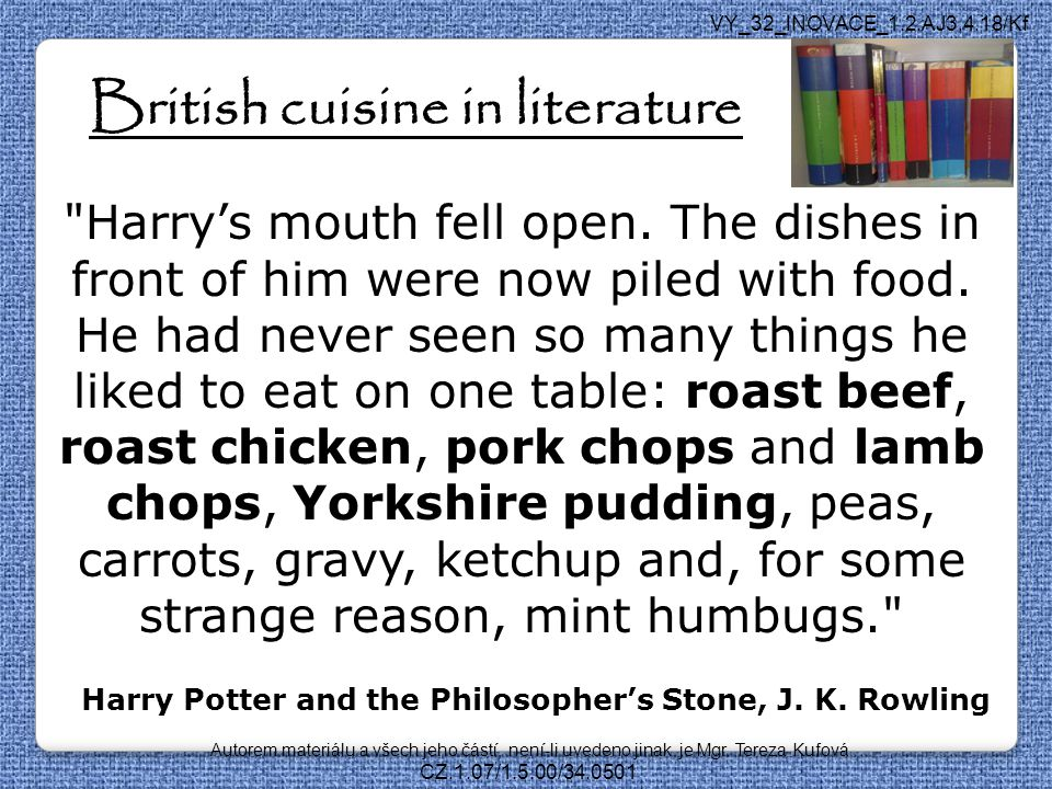 British cuisine in literature