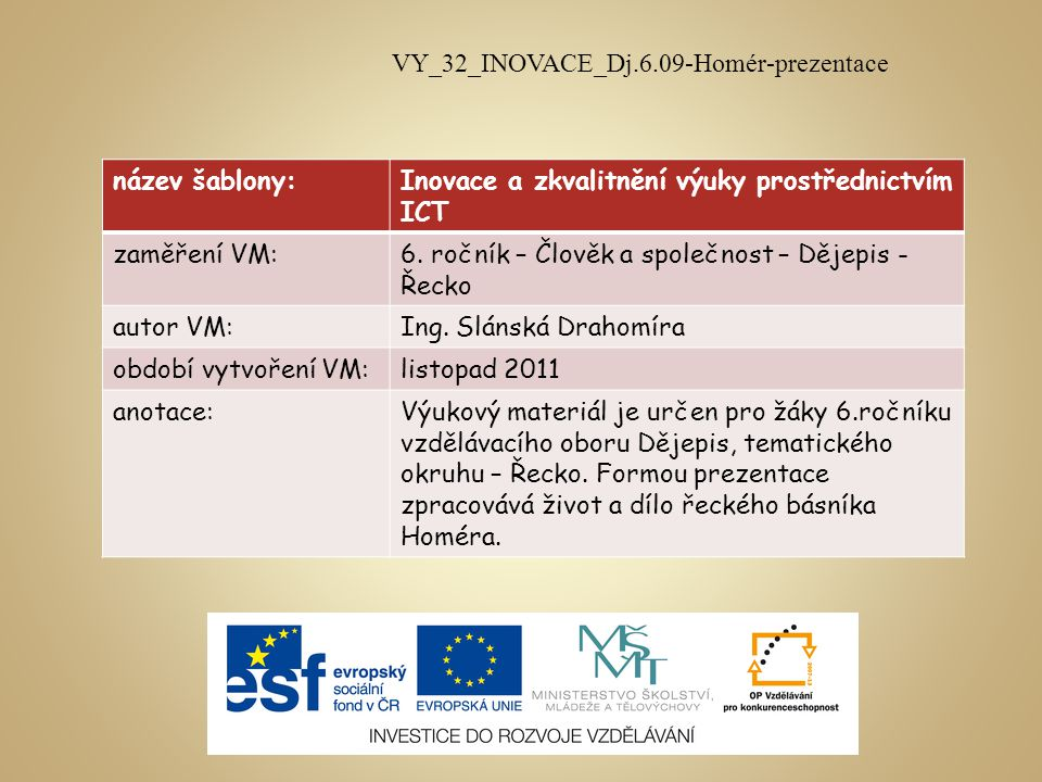 VY_32_INOVACE_Dj.6.09-Homér-prezentace