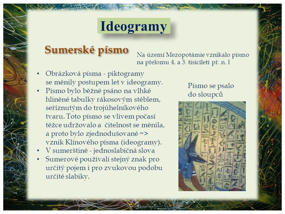 Ideogramy Sumerské písmo Obrázková písma - piktogramy
