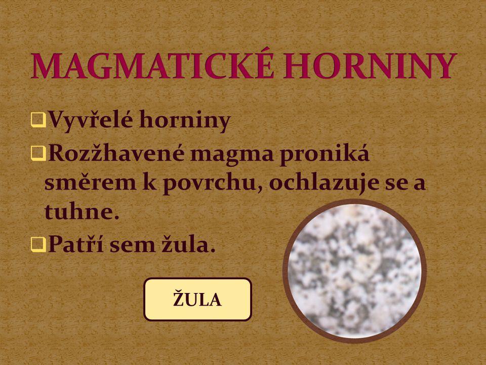 MAGMATICKÉ HORNINY Vyvřelé horniny