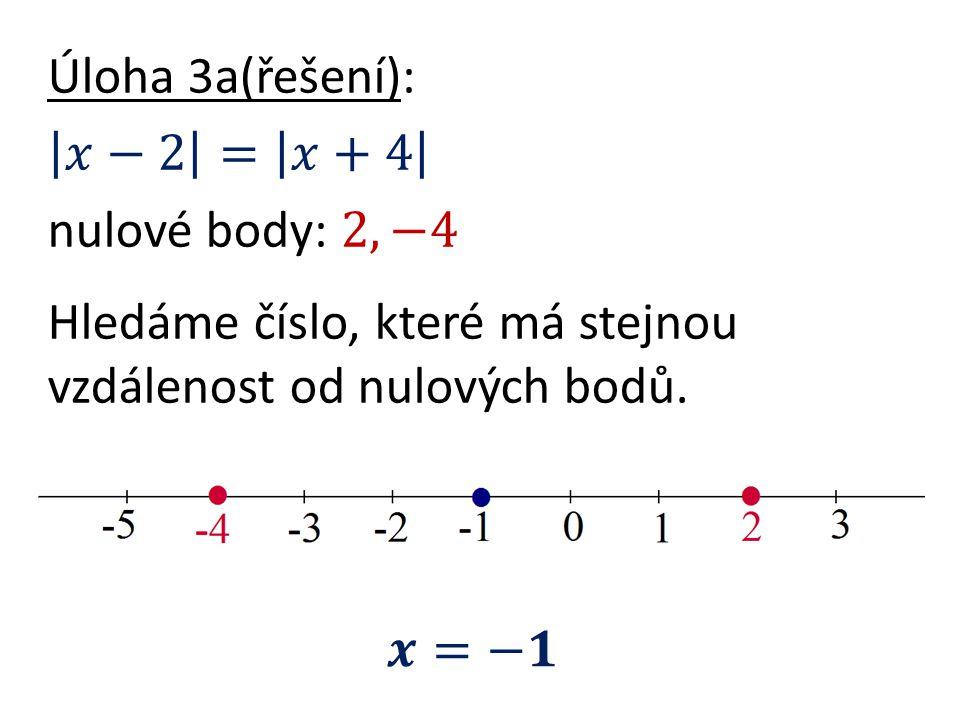 Úloha 3a(řešení): 𝑥−2 = 𝑥+4 nulové body: 2, −4 Hledáme číslo, které má stejnou vzdálenost od nulových bodů.