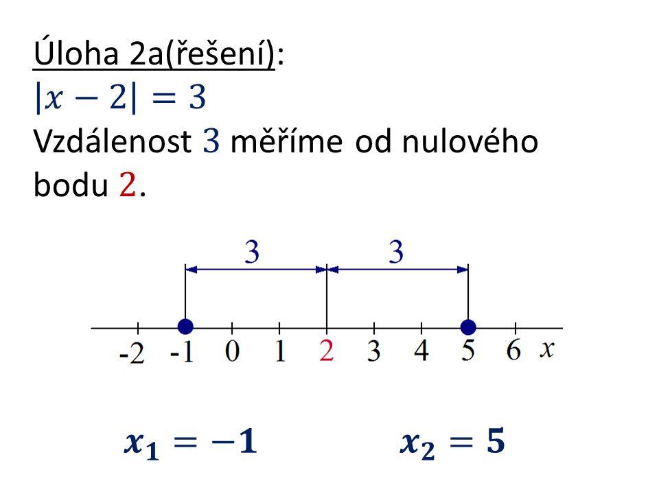 Úloha 2a(řešení): 𝑥−2 =3 Vzdálenost 3 měříme od nulového bodu 2.