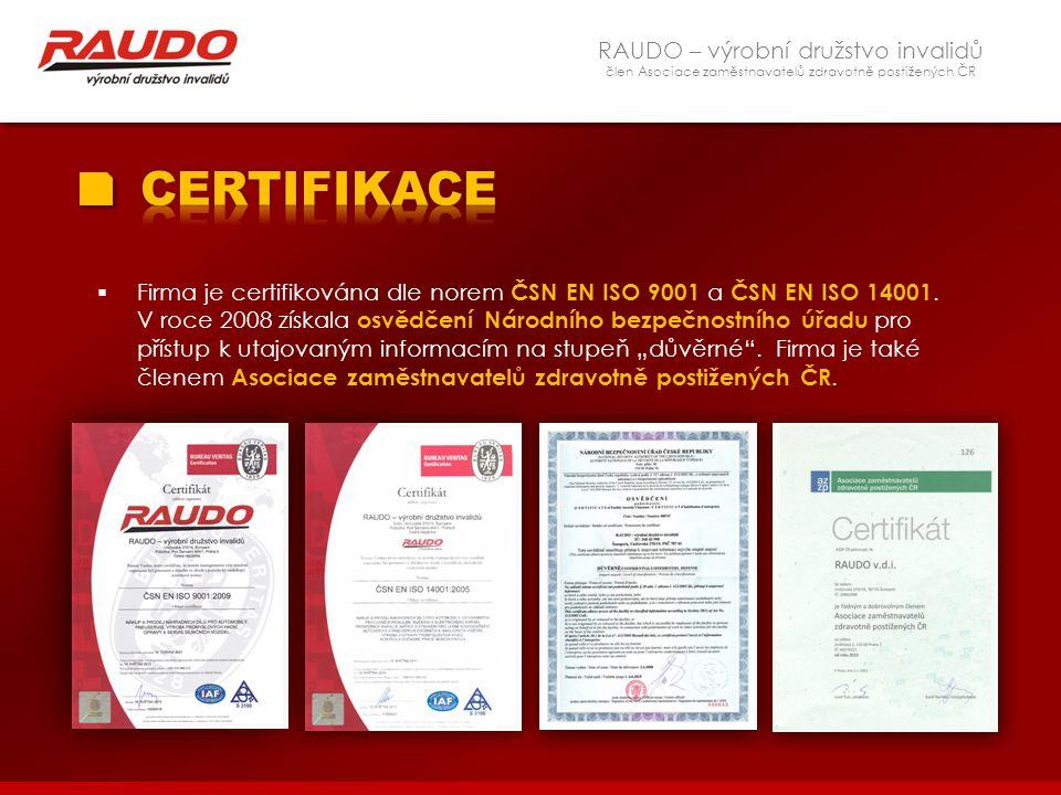CERTIFIKACE RAUDO – výrobní družstvo invalidů