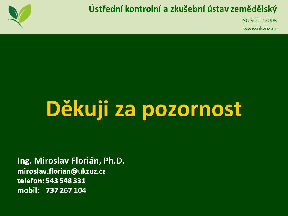 Děkuji za pozornost Ing. Miroslav Florián, Ph.D.