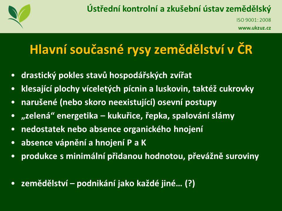 Hlavní současné rysy zemědělství v ČR