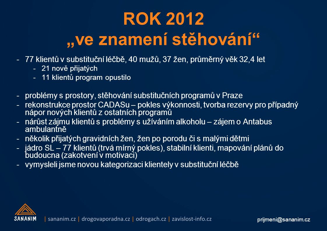 """ROK 2012 """"ve znamení stěhování"""