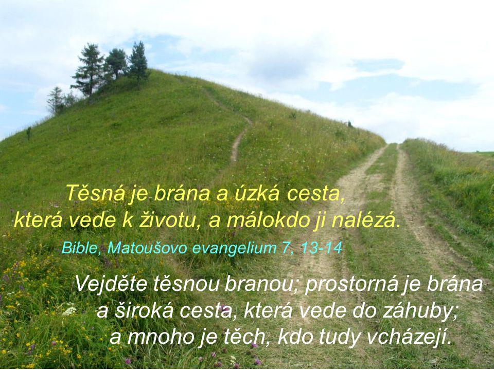 Těsná je brána a úzká cesta, která vede k životu, a málokdo ji nalézá.