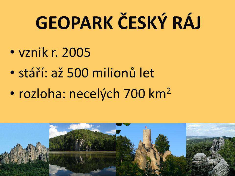 GEOPARK ČESKÝ RÁJ vznik r. 2005 stáří: až 500 milionů let