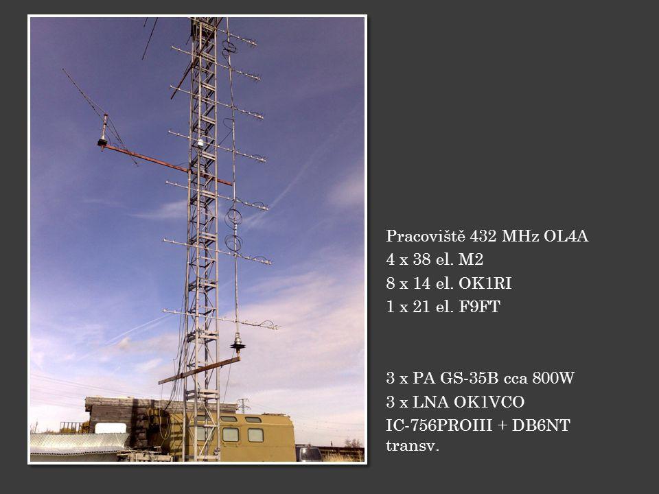 Pracoviště 432 MHz OL4A 4 x 38 el. M2. 8 x 14 el. OK1RI. 1 x 21 el. F9FT. 3 x PA GS-35B cca 800W.