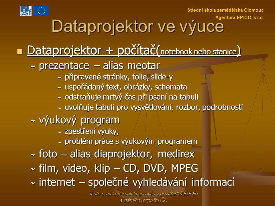 Dataprojektor ve výuce