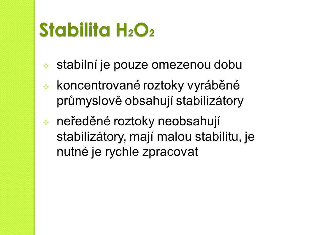 Stabilita H2O2 stabilní je pouze omezenou dobu