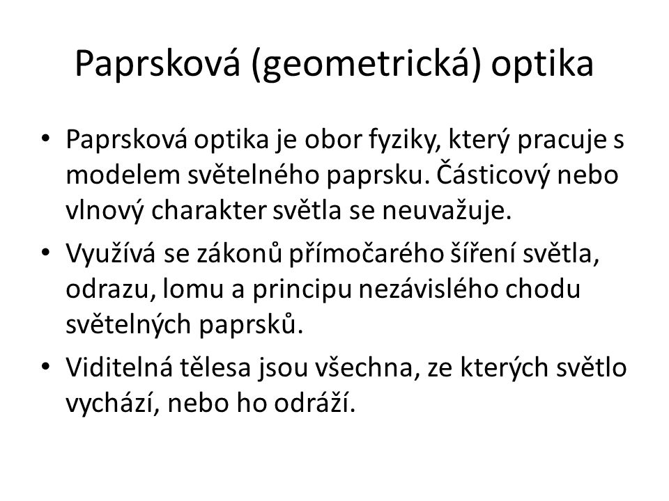 Paprsková (geometrická) optika