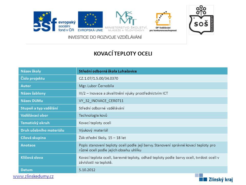 KOVACÍ TEPLOTY OCELI www.zlinskedumy.cz Název školy
