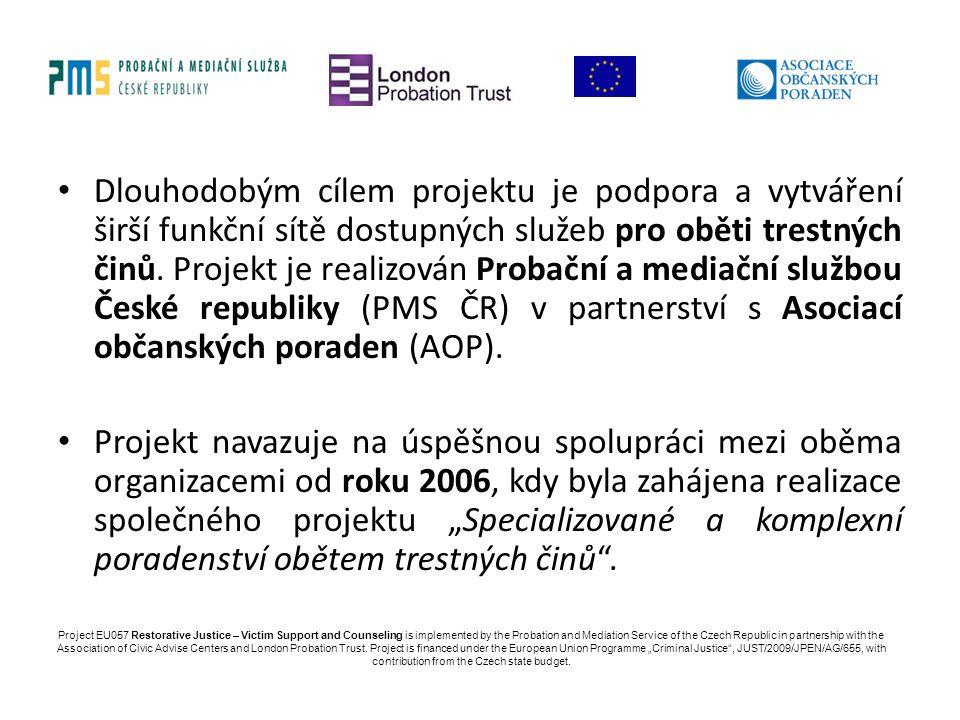 Dlouhodobým cílem projektu je podpora a vytváření širší funkční sítě dostupných služeb pro oběti trestných činů. Projekt je realizován Probační a mediační službou České republiky (PMS ČR) v partnerství s Asociací občanských poraden (AOP).
