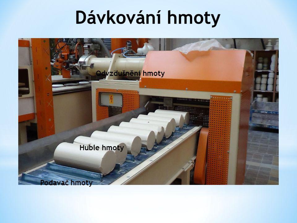 Dávkování hmoty Odvzdušnění hmoty Huble hmoty Podavač hmoty