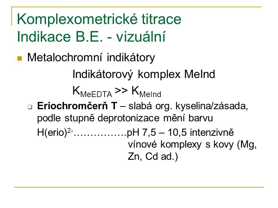 Komplexometrické titrace Indikace B.E. - vizuální