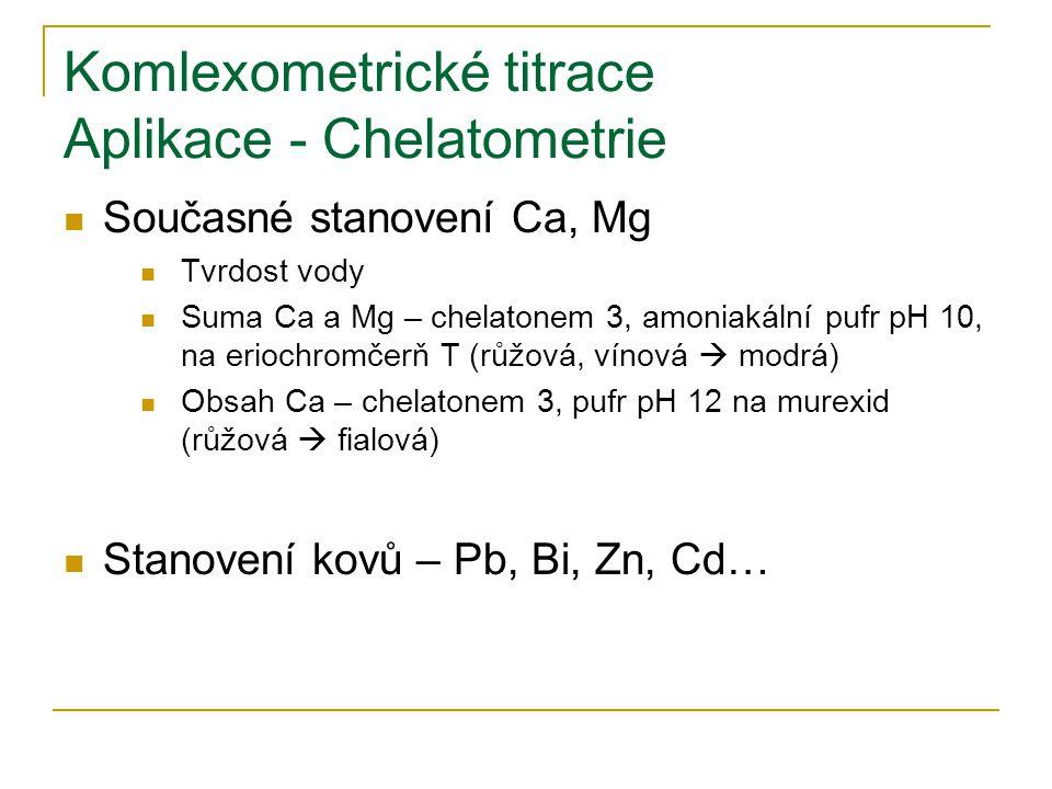 Komlexometrické titrace Aplikace - Chelatometrie