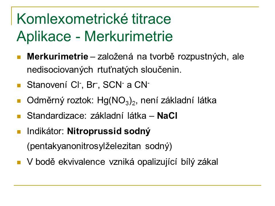 Komlexometrické titrace Aplikace - Merkurimetrie