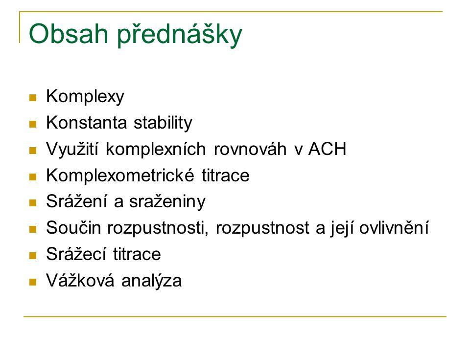 Obsah přednášky Komplexy Konstanta stability