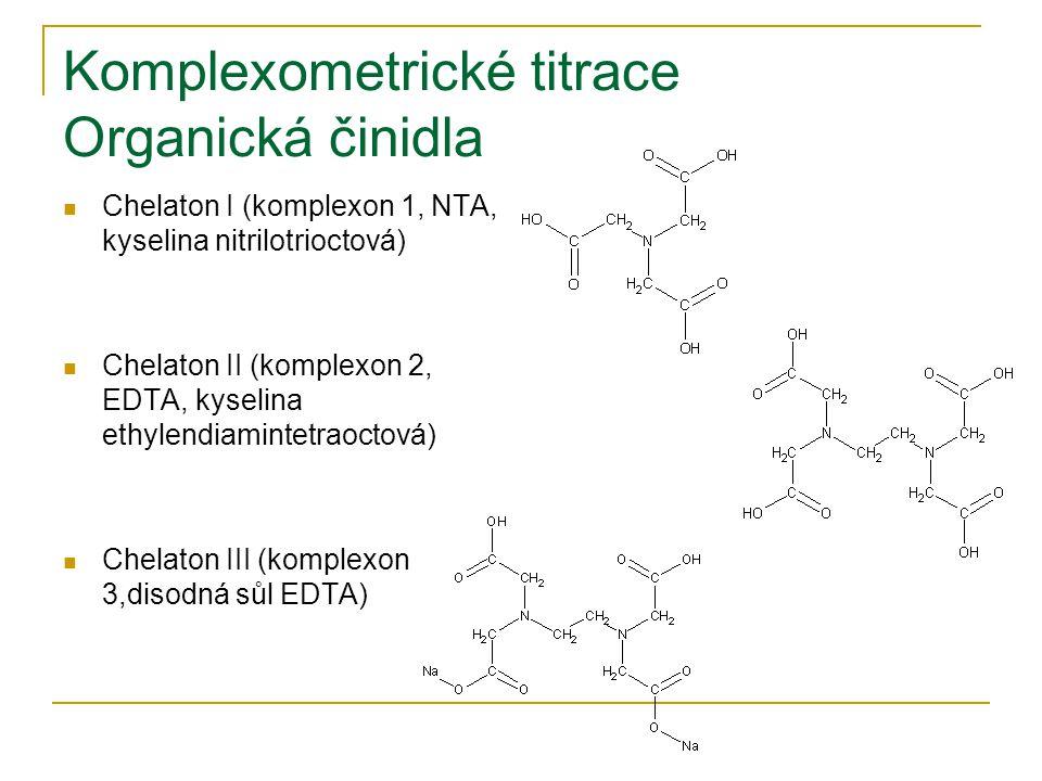 Komplexometrické titrace Organická činidla