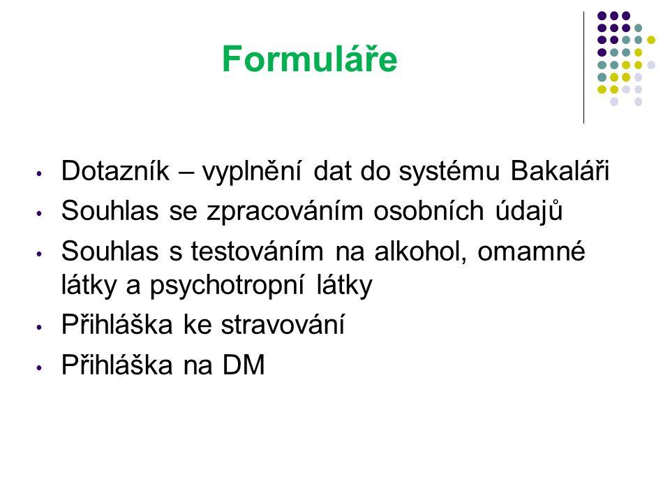 Formuláře Dotazník – vyplnění dat do systému Bakaláři