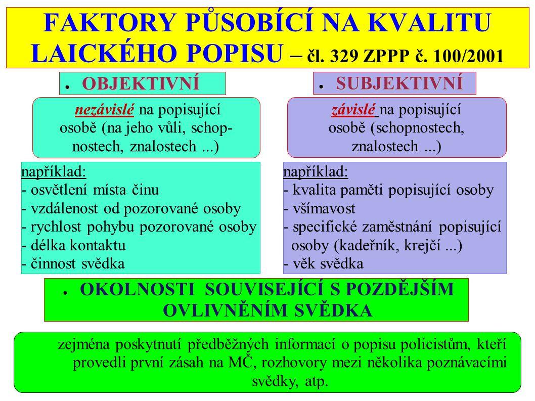FAKTORY PŮSOBÍCÍ NA KVALITU LAICKÉHO POPISU – čl. 329 ZPPP č. 100/2001