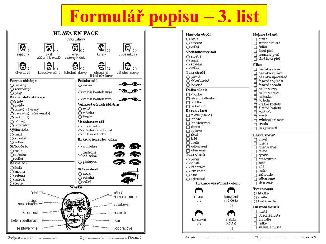 Formulář popisu – 3. list