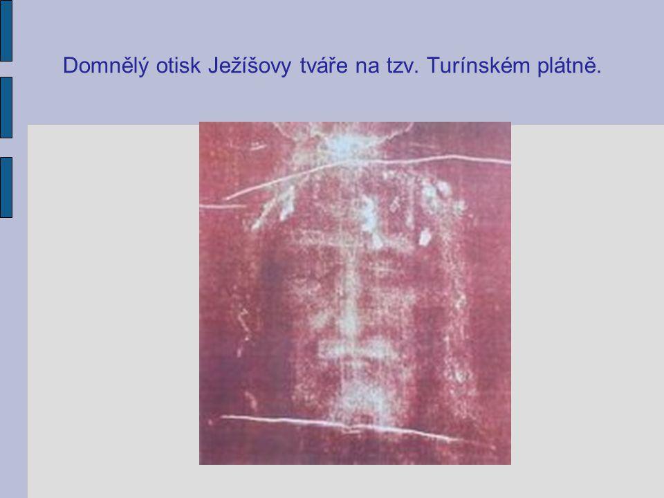 Domnělý otisk Ježíšovy tváře na tzv. Turínském plátně.