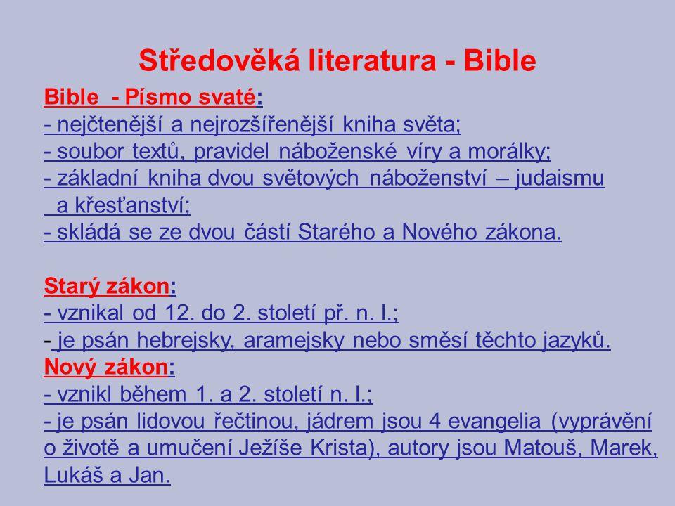 Středověká literatura - Bible