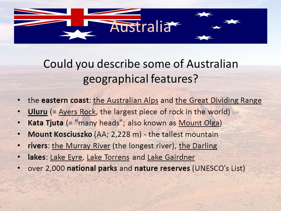 Could you describe some of Australian geographical features