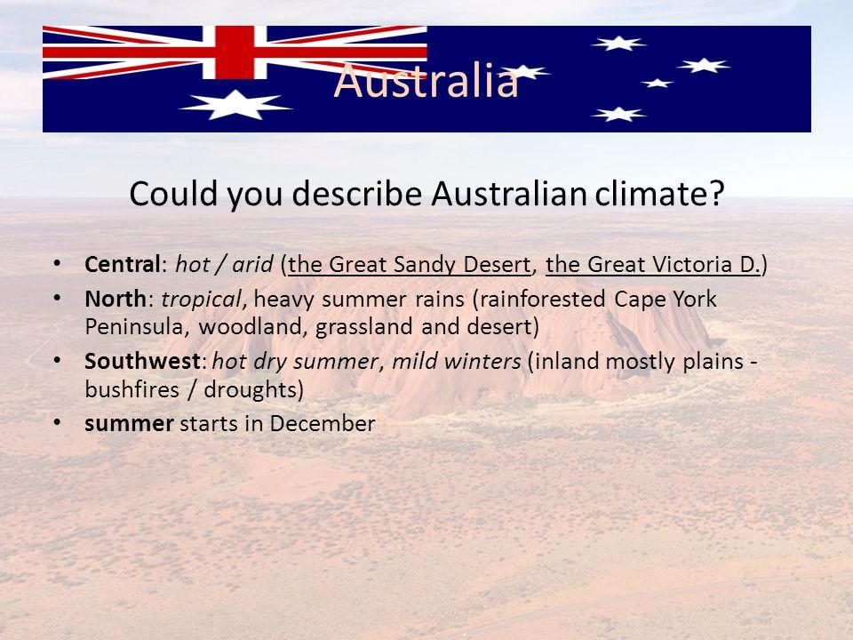 Could you describe Australian climate