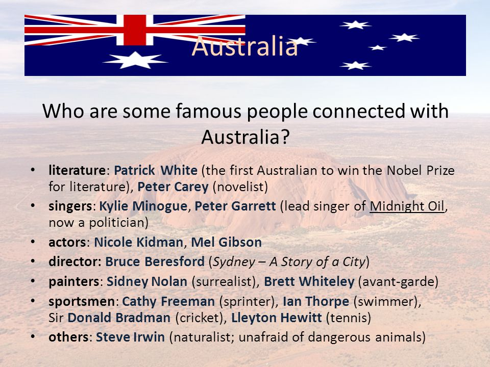 Who are some famous people connected with Australia