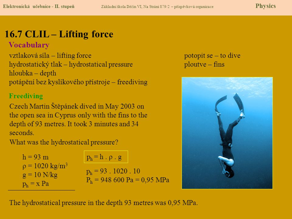 16.7 CLIL – Lifting force Vocabulary