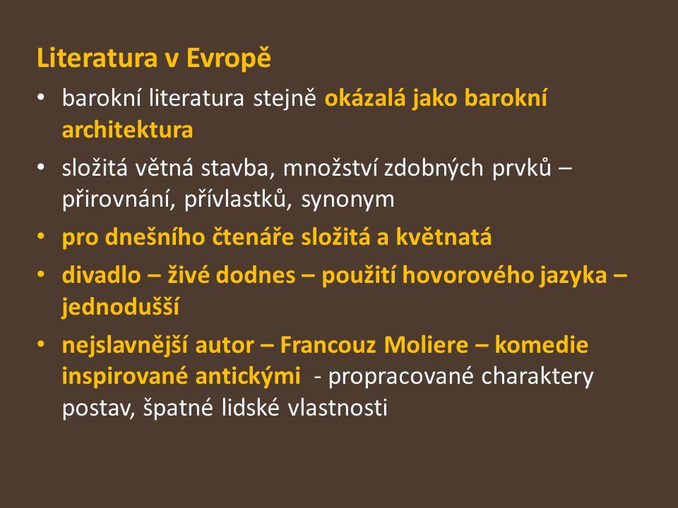 Literatura v Evropě barokní literatura stejně okázalá jako barokní architektura.