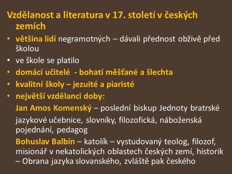 Vzdělanost a literatura v 17. století v českých zemích