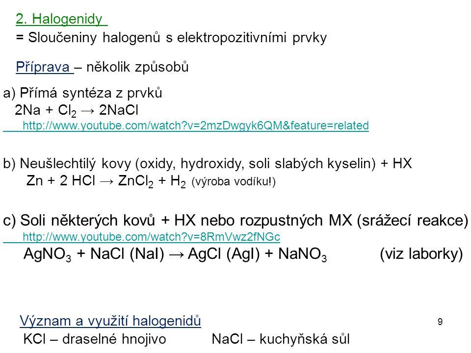 c) Soli některých kovů + HX nebo rozpustných MX (srážecí reakce)