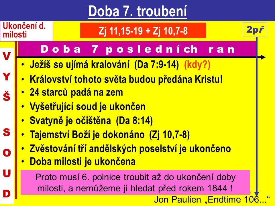Doba 7. troubení Ukončení d. milosti. Zj 11,15-19 + Zj 10,7-8. 2př. D o b a 7 p o s l e d n í ch r a n.
