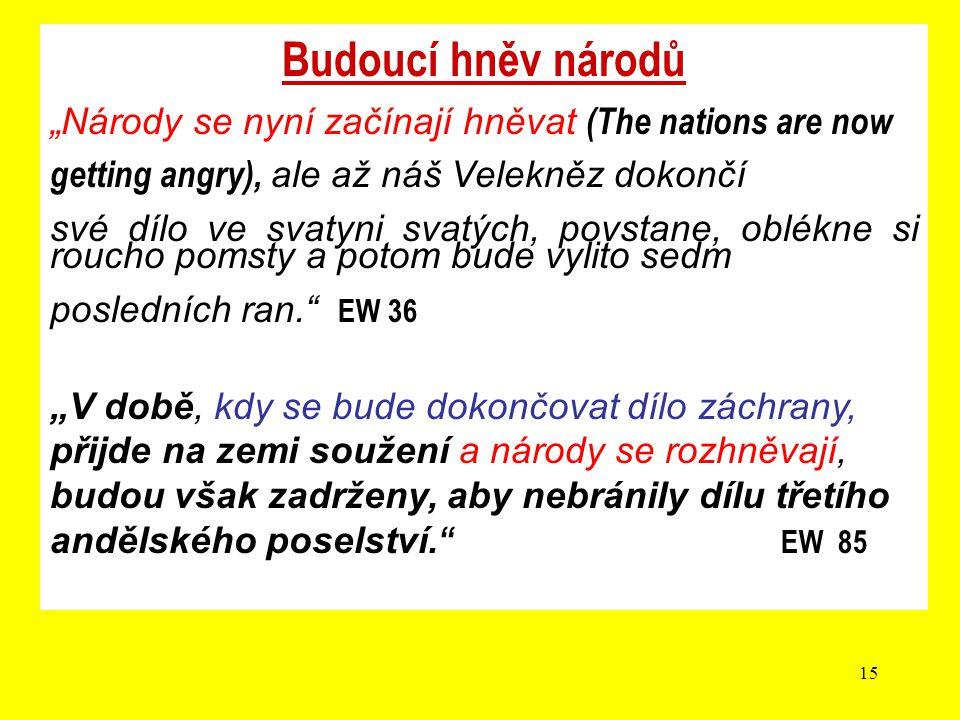 """Budoucí hněv národů """"Národy se nyní začínají hněvat (The nations are now. getting angry), ale až náš Velekněz dokončí."""