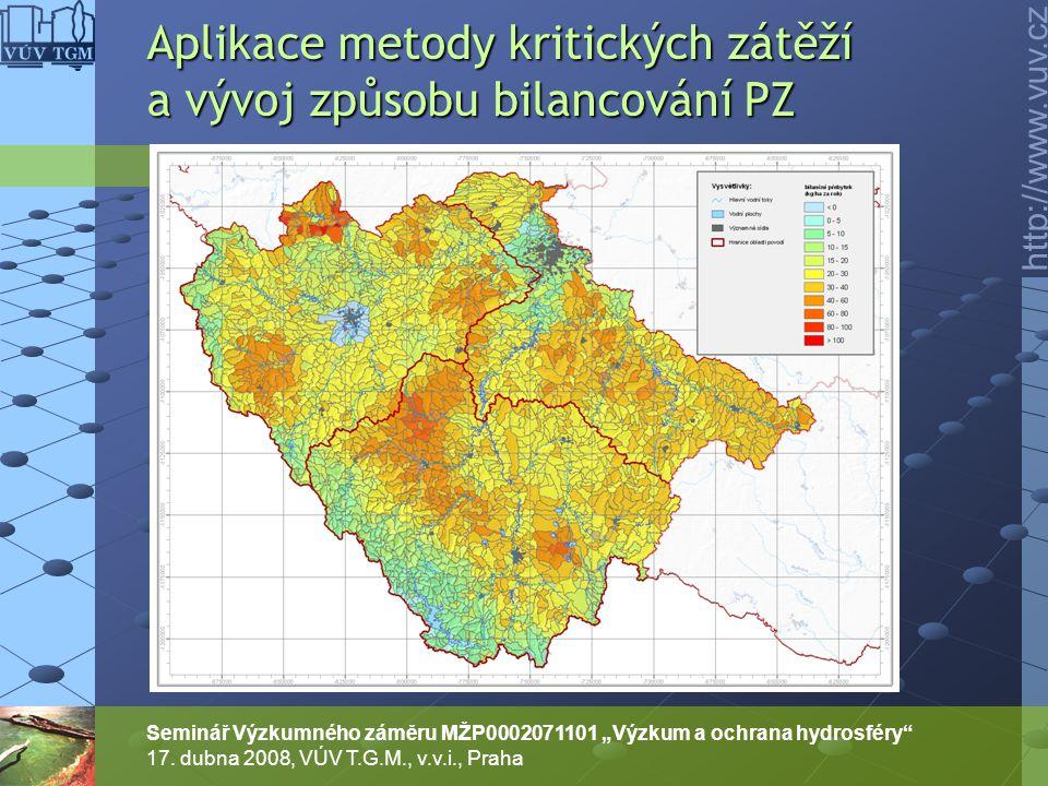Aplikace metody kritických zátěží a vývoj způsobu bilancování PZ