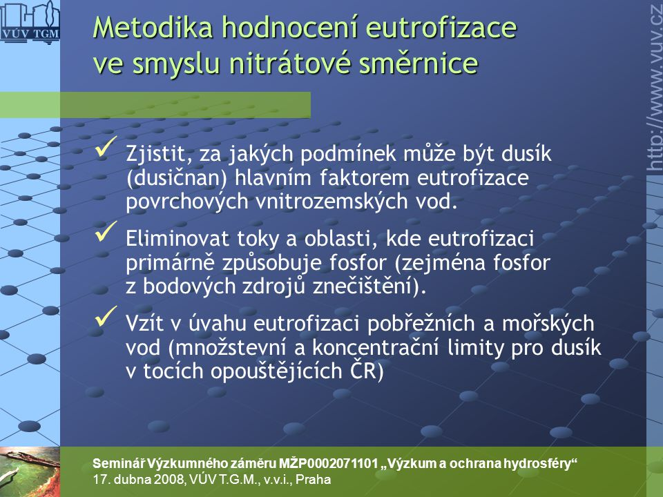 Metodika hodnocení eutrofizace ve smyslu nitrátové směrnice